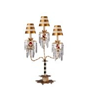 Elstead Birdland 3 Arm Table Lamp (Black/White/Crystals)