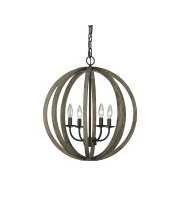 Elstead Allier 4 Light Pendant (Weather Oak Wood/Antique Forged Iron)