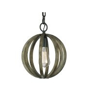 Elstead Allier Mini Pendant (Weather Oak Wood/Antique Forged Iron)