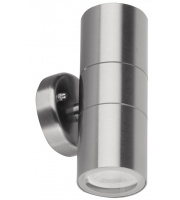Aurora 240V GU10 IP44 Stainless Steel Fixed Up/down Wall Light (Silver)