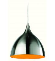 Firstlight Cafe Ceiling Pendant (Brushed Steel/Orange)