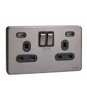 Schneider Electric 2 Gang Switched socket with USB charger (Black Nickel Black Insert)