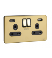 Schneider Electric Usfp Black Insert 2 Gang 13A Sw Skt W 2 Usb Chargers (Polished Brass)