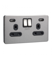 Scheider Electric Usfp Stainless Steel Black Insert 2 Gang 13A Sw Skt W 2 Usb Chargers