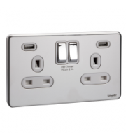 Scheider Electric Usfp Polished Chrome White Insert 2 Gang 13A Sw Skt W 2 Usb Chargers