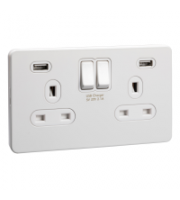 Scheider Electric Usfp White Metal White Insert 2 Gang 13A Sw Skt W 2 Usb Chargers