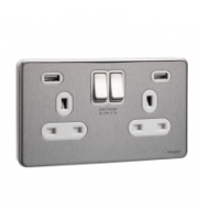 Scheider Electric Usfp Stainless Steel White Insert 2 Gang 13A Sw Skt W 2 Usb Chargers