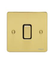 Scheider Electric Ufp Polished Brass Black Insert 1 Gang 2 Way 16AX Plate Switch