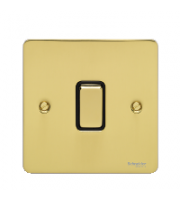 Scheider Electric Ufp Polished Brass Black Insert 1 Gang 2 Way 10A Retractive Plate Switch