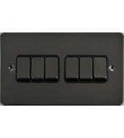 Scheider Electric Ufp Black Nickel Black Insert 6 Gang 2 Way 16AX Plate Switch