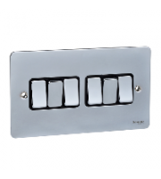 Scheider Electric Ufp Polished Chrome Black Insert 6 Gang 2 Way 16AX Plate Switch