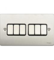Scheider Electric Ufp Stainless Steel Black Insert 6 Gang 2 Way 16AX Plate Switch