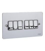 Scheider Electric Ufp Polished Chrome White Insert 6 Gang 2 Way 16AX Plate Switch