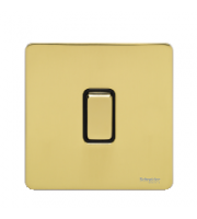 Scheider Electric Usfp Polished Brass Black Insert 1 Gang 2 Way 10A Retractive Plate Switch