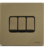 Scheider Electric Usfp Polished Brass Black Insert 3 Gang 2 Way 16AX Plate Switch