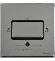 Scheider Electric Ulp Polished Chrome Black Insert 1 Gang Tp Isolator 10A Plate Switch