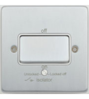 Scheider Electric Ulp Brushed Chrome White Insert 1 Gang Tp Isolator 10A Plate Switch