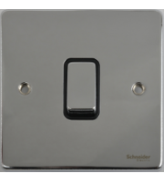 Scheider Electric Ulp Polished Chrome Black Insert 1 Gang Intermediate 16AX Plate Switch