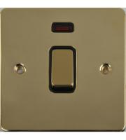 Scheider Electric Ufp Polished Brass Black Insert 20AX Dp Switch + Neon