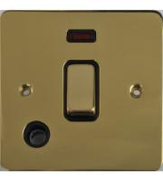 Scheider Electric Ufp Polished Brass Black Insert 20AX Dp Switch + Neon + Flex Outlet