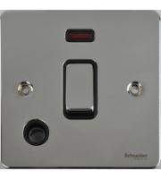 Scheider Electric Ufp Polished Chrome Black Insert 20AX Dp Switch + Neon + Flex Outlet