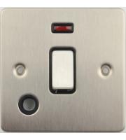 Scheider Electric Ufp Stainless Steel Black Insert 20AX Dp Switch + Neon + Flex Outlet