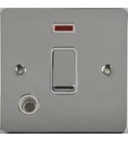 Scheider Electric Ufp Polished Chrome White Insert 20AX Dp Switch + Neon + Flex Outlet