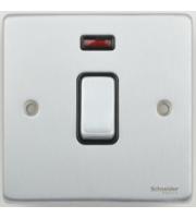 Scheider Electric Ulp Brushed Chrome Black Insert 20AX Dp Switch + Neon