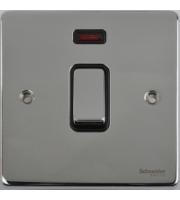 Scheider Electric Ulp Polished Chrome Black Insert 20AX Dp Switch + Neon