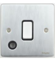 Scheider Electric Ulp Brushed Chrome Black Insert 20AX Dp Switch + Flex Outlet