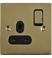 Scheider Electric Ufp Polished Brass Black Insert 1 Gang 13A Switched Socket