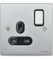 Scheider Electric Ulp Brushed Chrome Black Insert 1 Gang 13A Switched Socket