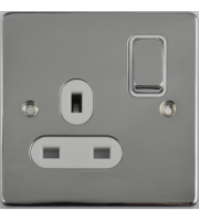 Scheider Electric Ulp Polished Chrome White Insert 1 Gang 13A Switched Socket