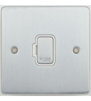Scheider Electric Ulp Brushed Chrome White Insert 13A Unswitched Fused Connection Unit