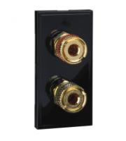 Scheider Electric Euro Module Black 2 X Loudspeaker Socket - 25 X 50mm (Black)