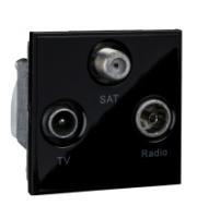 Scheider Electric Euro Module Black TV/Radio/Sat1 - (triplexed) 50 X 50mm