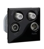 Scheider Electric Euro Module Black TV/Radio/Sat1/Sat2 - (quad) 50 X 50mm