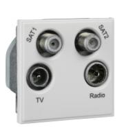 Scheider Electric Euro Module White TV/Radio/Sat1/Sat2 - (quad) 50 X 50mm
