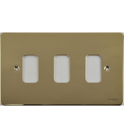 Scheider Electric Ufp Grid Plate Polished Brass 3 Gang (c/w Mounting Frame)