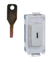 Schneider Electric Ultimate 20AX Double Pole Key Switch Grid Module (White Metal)