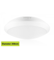 Integral White Tough Shell+ Bulkhead IP66 1500Lumens 4000K 308 X 88mm, Microwave Sensor (White)