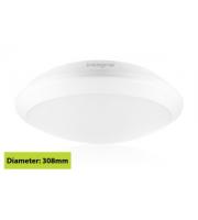 Integral White Tough Shell+ Bulkhead IP66 1400Lumens 308 X H88mm, 3hours Emergency And Microwave Sensor (White)