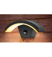 Integral Curve Wall Light IP54 7.6w 360lm 3000K Dark Grey With Pir Sensor