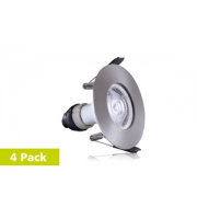 Integral 4PACK Evofire Fire Rated Downlight 70MM Cutout IP65 Satin Nickel Round +GU10 Holder (Satin Nickel)