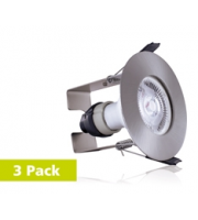 Integral 3PACK Evofire Fire Rated Downlight 70MM Cutout IP65 Satin Nickel Round +GU10 Holder & Insulation Guard (Satin Nickel)