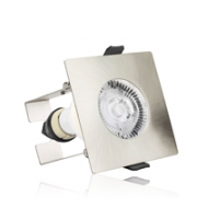 Integral Evofire Fire Rated Downlight IP65 Satin Nickel Square +GU10 Holder & Insulation Guard (Satin Nickel)