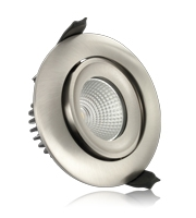 Integral 92mm 6W 3000K Fire Rated Tiltable LED Downlight (Satin Nickel)