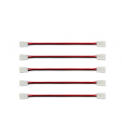 Integral 2 Way Connector and Wire for 8mm LED Strips x 5 Pack (White)
