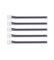 Integral Connector and Wire for 12mm Width RGBW Strips x 5 Pack (White)