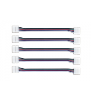 Integral 2 Way Connectors for 12mm RGBW LED Strip x 5 Pack (White)